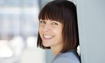 Friendly woman smiling